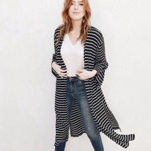 Carly Jean Los Angeles Striped Annie Duster Black